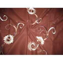 cotton voile fabric~Brown with embroidery-5 yards-44""