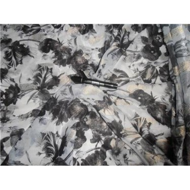 "Polyester Georgette 44"" Wide ~ Blueish Grey Color Printed"