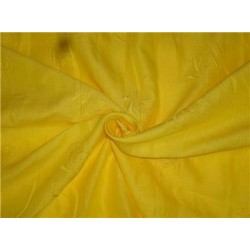 "Bright Lemon Yellow Linen Fabric 54"" Embroidered"