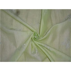 "Pistachio Green Linen Fabric 54"" Embroidered"