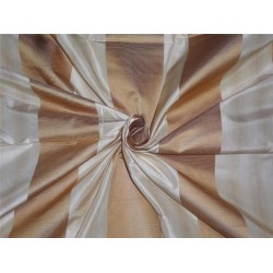 100% Pure Silk Taffeta Fabric Cream x Gold Satin Stripes 54""