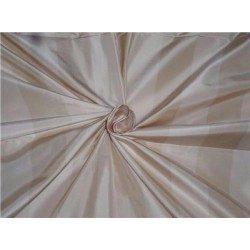 100% Pure Silk Taffeta Fabric Cream x Champagne Stripes 54""
