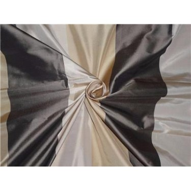 100% Pure Silk Taffeta Fabric Gold,Caremel,Charcoal Stripes 54""