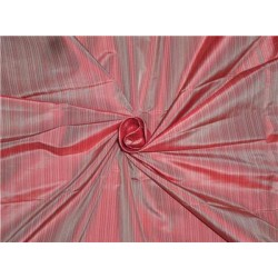 100% Pure Silk Taffeta Pin Stripe Fabric Red Color Cut Length 1.30