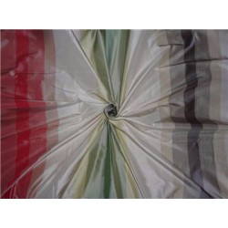 100% Pure Silk Taffeta Stripe Fabric Multi Color Cut Length 0.85