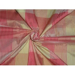 100% Pure Silk Taffeta Plaid Fabric Red,Gold x Cream Cut Length 0.80