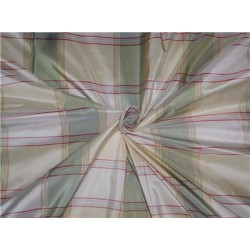 100%Pure Silk Taffeta Plaid Fabric Green Red x Cream Cut Length 2.40yd