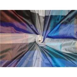 100% Pure Silk Taffeta Plaid Fabric Multi Color Cut Length 1.15yd