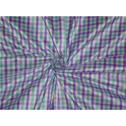 100% Pure Silk Dupioni Fabric Purple,Sea Green x White Small Checks 54""