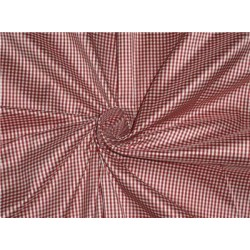 100% Pure Silk Dupioni Fabric Blood Red and Ivory tiny plaids 54""