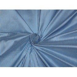 100% Pure Silk Dupioni Fabric Blue and White tiny plaids 54""