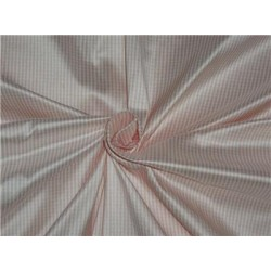 100% Pure Silk Dupioni Fabric Rose Pink and  Ivory tiny plaids 54""