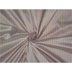 100% Pure Silk Dupioni Fabric Pink,Brown x White Small Checks 54""