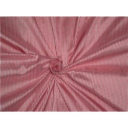 100% Pure Silk Dupioni Fabric Red and  white tiny plaids 54""