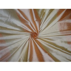 "Silk Dupioni Fabric 54"" Peach X Cream Color Stripes"