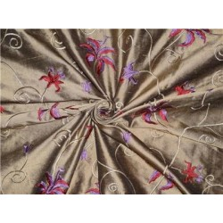 "54"" wide Silk Dupioni Fabric Gold x black Red and purple pink Flower Embroidery"