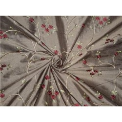 "54"" Wide Silk Dupioni Fabric Brown,Gold x Red Green Flower Embroidery"