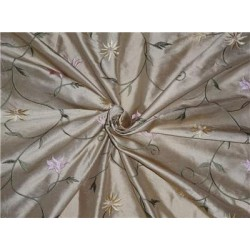 "54"" Wide Silk Dupioni Fabric Beige,Gold x Pink Green Flower Embroidery"