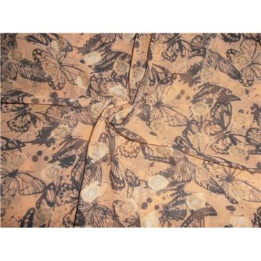 "Polyester  Georgette 44"" Wide ~Peach x Black Printed Butterfly"