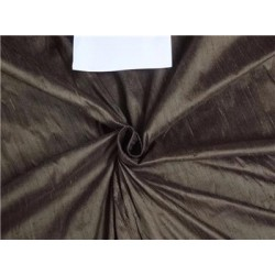 "100% Pure Silk Dupioni Fabric 54"" Bark Brown Color Slubs"
